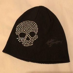 Harley Davidson Rhinestone Skull Knit Skull Cap